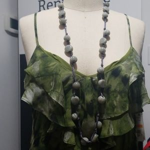Gray Beads Statement Neckalce